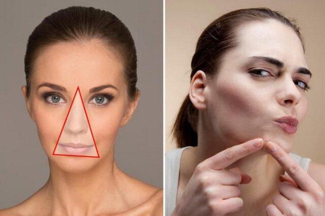 Triangle de la mort: partie du visage que vous ne devez jamais manipuler vos boutons, au risque de subir des conséquences graves